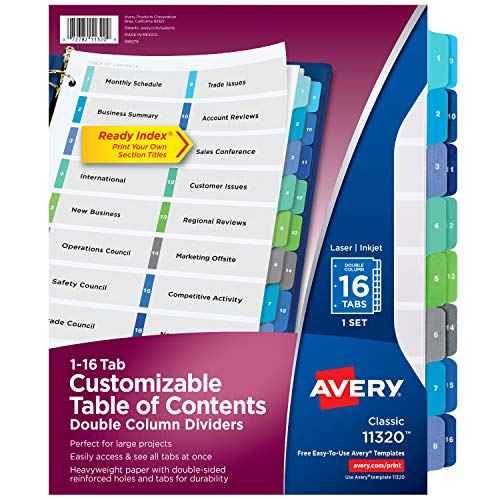 Avery Double-Column Ready Index Dividers, 16-Tab, 1 Set (11320),Multi Color