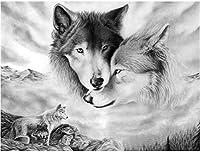 ポスターとプリント黒と白のオオカミポスターキャンバス絵画動物の壁アート家の装飾リビングの家の装飾の写真40x60cmフレームなし