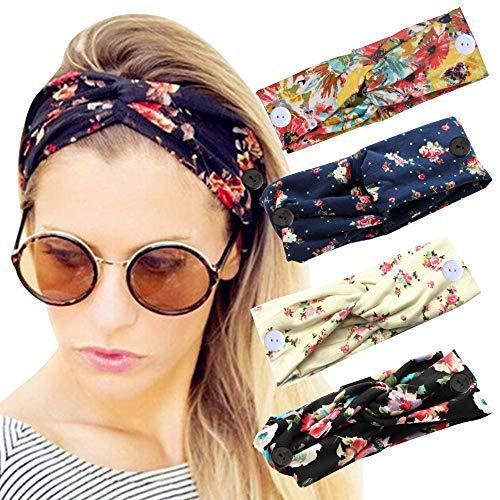 Sarfel Boho Headbands for Women Headbands with Buttons for Mask Nurses Bandannas for Head Wraps Elastic Hair Band 4 Pack Floral w Botton