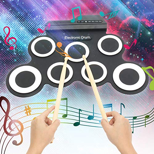 Qweidown Tamburo Elettronico,Batteria Elettronica,Drum Pad Kit,Pieghevole in Silicone,Strumento Musicale con Pedali,Adatta aprincipianti,Bambini e batteristi