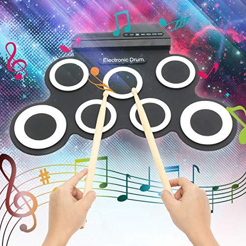 Qweidown Elektronisches Schlagzeug, Tragbares Elektronisches Schlagzeug, faltbares elektronisches Schlagzeug mit 7 Pads, geeignet für Anfänger, Kinder und Schlagzeuger