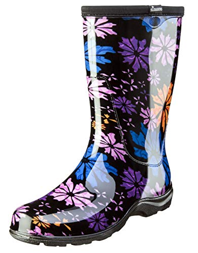 Sloggers Women's Waterproof Rain and Garden Boot with Comfort Insole, Flower Power, Size 11, Style 5016FP11
