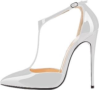 elashe- Scarpe da Donna - Scarpe col Tacco - 12cm T-Strap con Cinturino alla Caviglia- Scarpe Donna Tacco