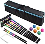 DealKits [6 Players] Croquet Set for Families with Carrying Bag for Yard Outdoor Lawn Backyard Games for Kids Adults All Ages, 35 Inches