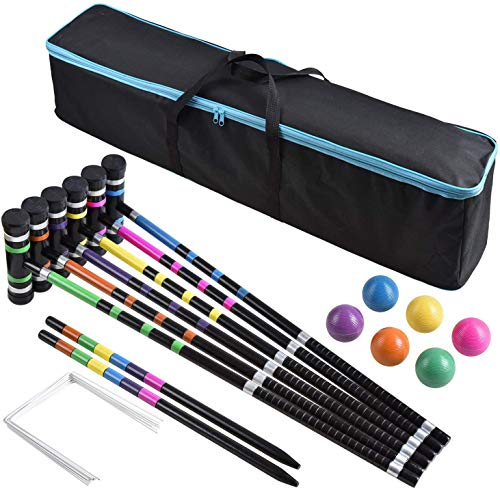 DealKits [6 Players] Croquet Set for Families with Carrying Bag