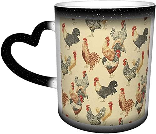 Taza de café con diseño de gallo de pollo divertido y mágico sensible al calor que cambia de color en el cielo tazas de café regalos personalizados para los amantes de la familia y amigos