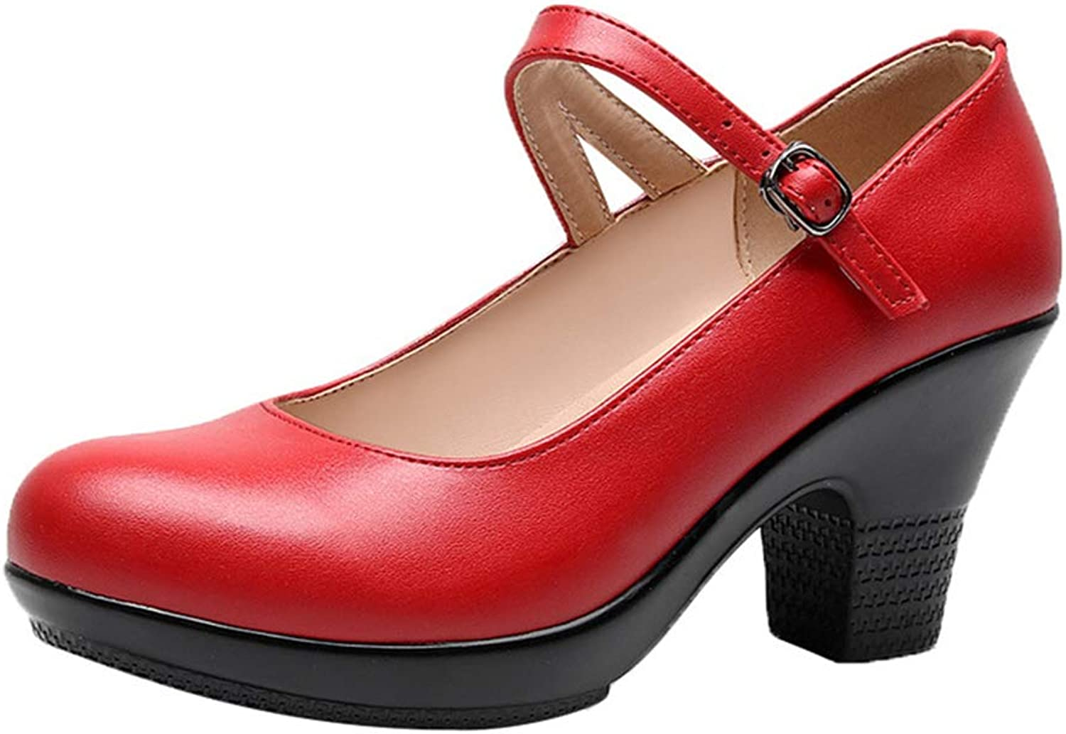 Women's Fashion shoes Spring & Fall Lady's Chunky Heels One-Button Buckle Cheongsam Catwalk shoes Mother shoes Work shoes (color   Red, Size   41)