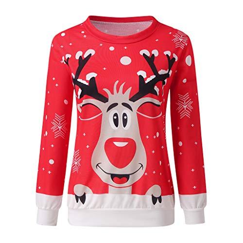 Mujer Sudaderas Navidad Jersey Casual Camisa Navideña Estampada de Reno Blusa Cómodo Pullover Caliente Suéter Ropa de Invierno Tops Fannyfuny