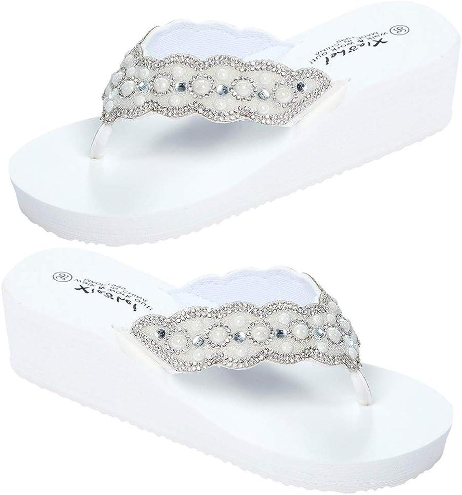 Holibanna Womens Open Toe Shining Wedge Sandal Slip-On Flip Flop Beach Travel Indoor Outdoor Slipper