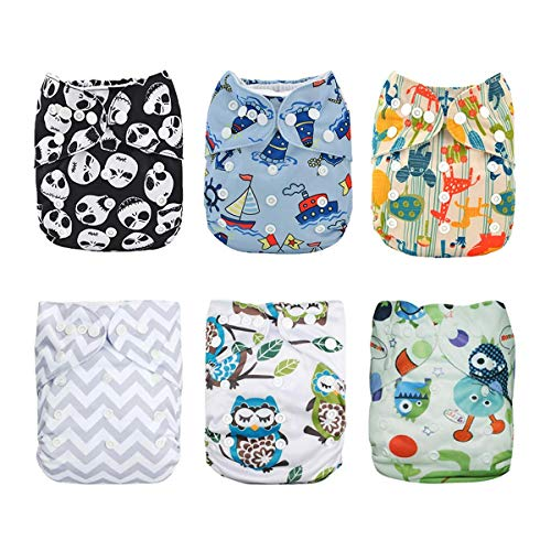 Alva Baby - 6 Pañales de tela con 12 absorbentes reutilizables, lavables a máquina 6DM12. Talla:All in one