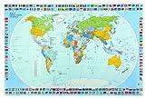 Veloflex 4671000 Schreibunterlage 40 x 60 cm, Schreibtisch-Unterlage, Welt, Weltkarte, abwischbar,...