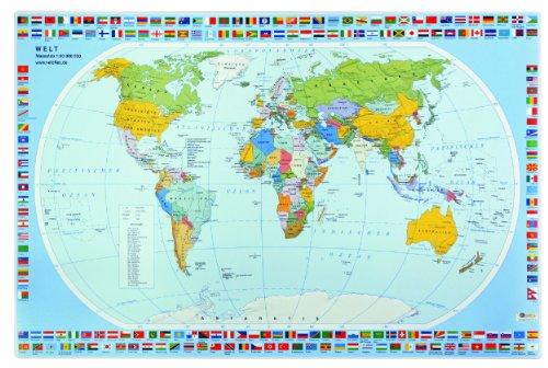 Veloflex 4671000 - Schreibunterlage 40 x 60 cm, Schreibtisch-Unterlage, Welt, Weltkarte, abwischbar, rutschfest