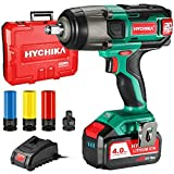 Cordless Impact Wrench 20V Max, HYCHIKA 260 Ft-lbs Max Torque Impact Wrench, 1/2' Metal Chuck, 4.0 AH Battery with 1H Fast Charger, LED Light, 3 Pcs Sockets & 1/2' to 3/8' Adapter, Carrying Case