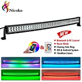 Nicoko 42inch 240w Curved LED Light Bar with Chasing RGB halo ring for 10 Solid Color Changing with Strobe Flashing Spot Flood Combo Beam IP67 waterproof Remote Control Wiring Harness Kit