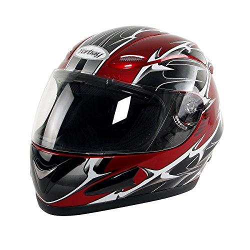 Yorbay Motorradhelm Integralhelm Sturzhelm Helm mit verschienden Typen & in unterschiedlichen Größen (Rot, S)
