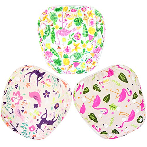 Pedobi Reusable Baby Swim Diapers, Adjustable Diaper Swim for Toddlers 9 months - 3 years old, 3 Pack for Swimming Lessons (Flamingo, Large)