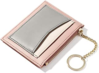 Womens Slim Front Pocket Wallet Mini Synthetic Leather Coin Change Purse Organizer with Key Chain (Chain Pink)