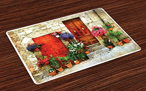 Lunarable Tuscan Place Mats Set of 4, Colorful Flowers Outside Home in Italian Hilltown Assisi Rustic Door Image, Washable Fabric Placemats for Dining Table, Standard Size, Orange Violet