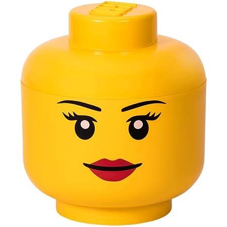 LEGO 40321725 Tête de rangement empilable Légo Fille Grand modèle Plastique Jaune D24 x H27,1 cm