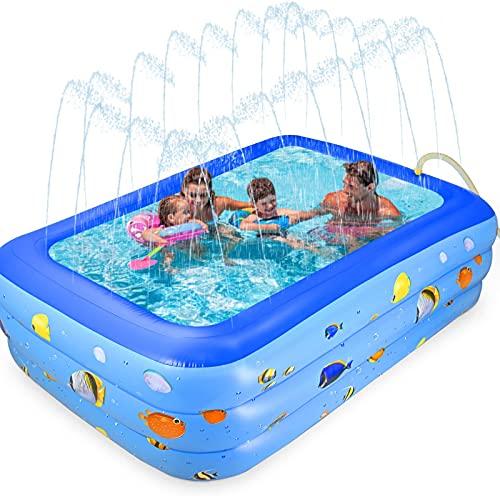 GOLDGE - Piscina hinchable cuadrada, hinchable, rectangular, para jardín, exterior, fiesta en el agua de verano, juego fácil para azul (203 x 120 x 55 cm)