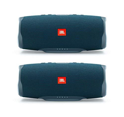 JBL Charge 4 Portable Waterproof Wireless Bluetooth Speaker Bundle - (Pair) Blue