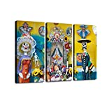 Day of The Dead in Mexico 3 Pieces Print On Canvas Wall Artwork Modern Photography Home Decor Unique Pattern Stretched and Framed 3 Piece