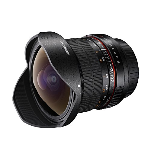 Walimex Pro 12 mm f1:2,8 Festbrennweite manueller Fokus Ultraweitwinkelobjektiv für Canon EF Mount Kamera Objektiv für Spiegelreflexkamera Canon EOS 5D 77D 1300D C200 C300 Mark II 5D Mark IV
