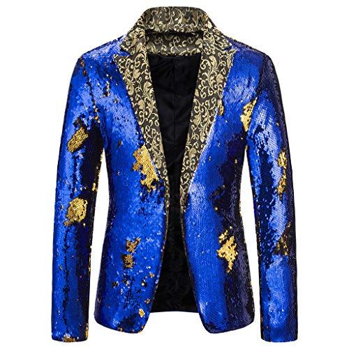 Blazer pour homme, style classique avec paillettes, costume élégant pour spectacle ou fête déguisée - Blanc - XXL