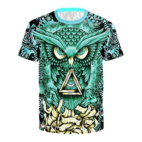 Sunofbeach Unisex 3D Camiseta Divertidas Impresa Personalizada Verano Casual tee Shirts, Pájaro Buho Verde,M