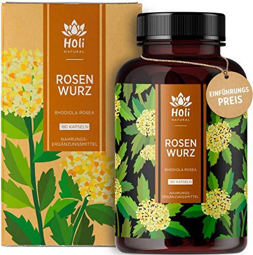 Holi Natural® Rhodiola Rosea Extrakt | 180 vegane Kapseln | 400mg je Tagesdosis | 3% Rosavin, 1% Salidrosid | Rosenwurzextrakt ohne Zusatzstoffe | Laborgeprüft