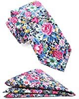 Mens Cotton Skinny Floral Tie Combo Set with Pocket Square TC061