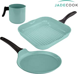Jade Cook Comal + Well Package + Grill (1 KITCHEN COMAL with handle, 1 KITCHEN WELL with handle, 1 GRILL PAN). Its aluminum construction with NON-STICK coating, jade powder and ceramic make them