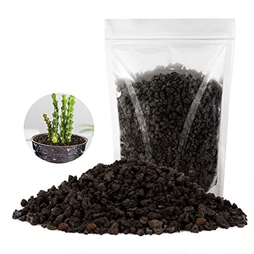 Black Lava Rocks,RIFNY Horticultural Volcanic Rock Topdressing Filling Potting Mix Soil 2.2LB for Succulent Cactus Plants