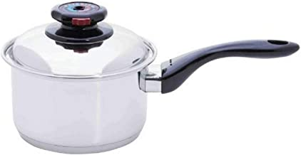 Maxam Cookware 9-Element Saucepan with Cover, 17 quart, Silver