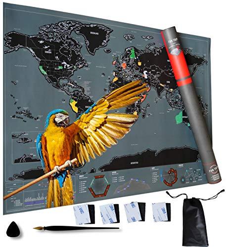NORDICCÖRP® XXL Weltkarte zum Rubbeln ca. 83 x 60 cm NEU Premium World Poster zum Freirubbeln, Rubbel Landkarte - Travel Globus Scratch Map für Wohnzimmer, Kinderzimmer, Zubehör (Grau/Schwarz)