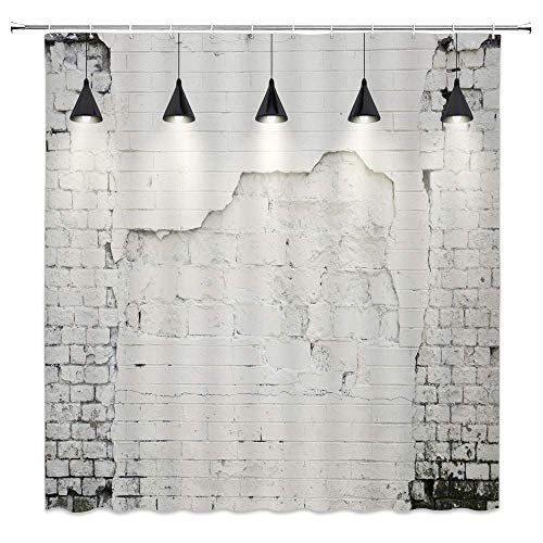 Not Applicable Weiße Wand Duschvorhang Industrial Style Dekoration Elfenbein Ziegel Einfacher Hintergr& Badezimmer Gardinen Dekor Polyester Stoff Wasserdicht 60 X 72 Zoll Inklusive Haken