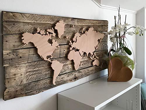 DIY Weltkarte - Bausatz, Europalette, Dekoration, LED Beleuchtung, 3D Effekt, Reiseziele, Hochzeitsgeschenk, Vintage, gemütliches Licht