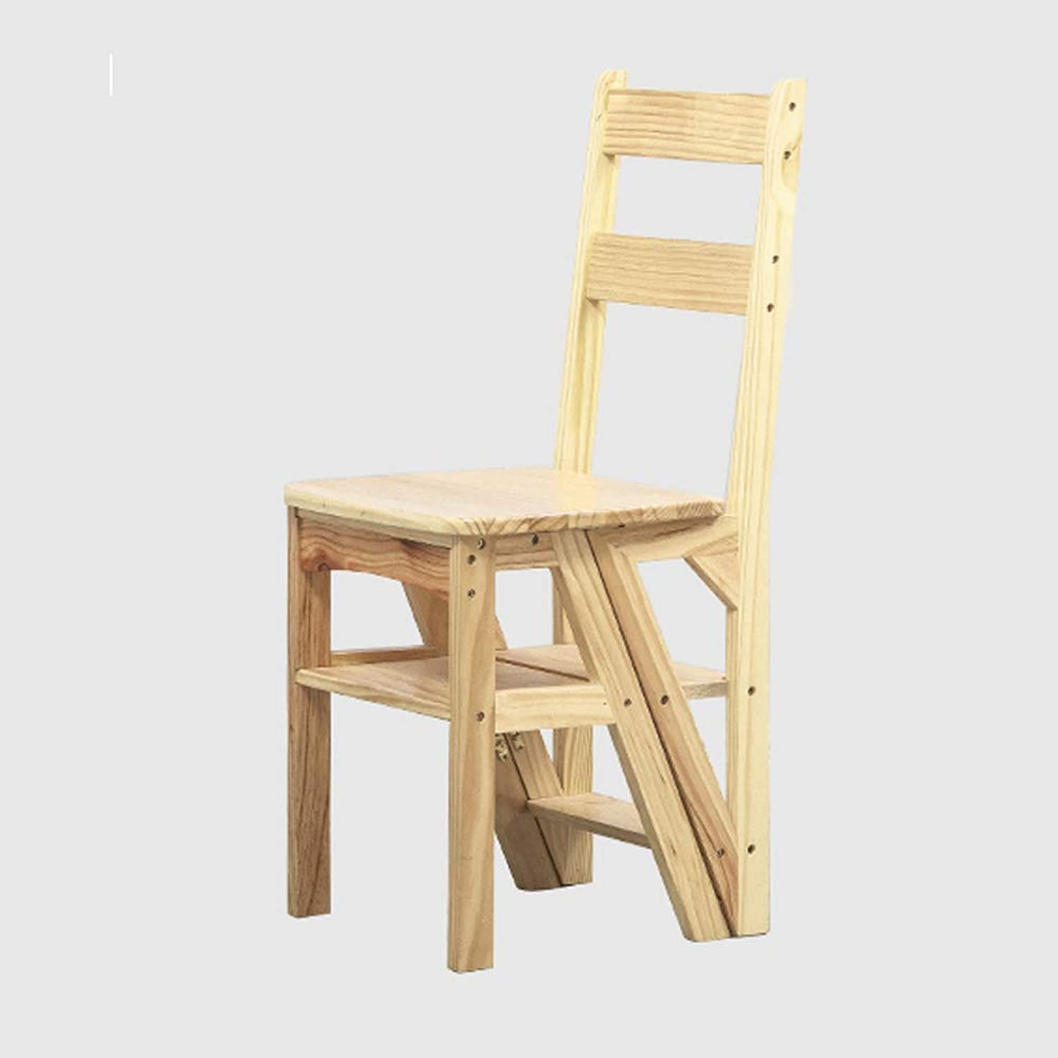 WCS Solid Wood Home Multi-function Folding Ladder Chair Indoor Mobile Indoor Climbing Ladder Dual-use Four-step Ladder Stool Climbing Ladder 40×39×90cm (color   Wood color)