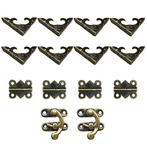 DELSEN 2 Sets dekorative Box-Hardware aus Bronze, 2 Stück Schlösser, 4 Stück Butterfly-Scharniere und 8 Stück dekorative Box-Ecken
