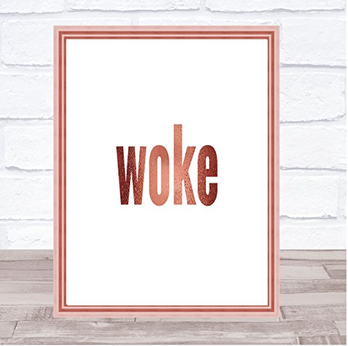 Woke Quote Print Poster Rose Goud Muur Kunst Medium A4