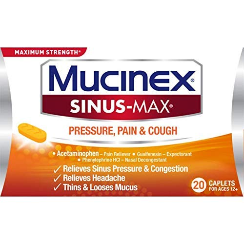 Maximum Strength Mucinex Sinus-Max Pressure, Pain & Cough Caplets, 20 ct, Relieves Minor Aches and Pains, Headache, Chest Congestion, Nasal Congestion, Sinus Pressure, and Controls Cough