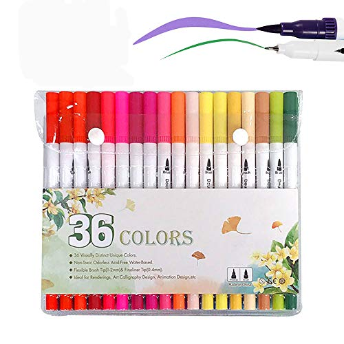 Houkiper Dual Tip Brush Markers Pen, 36 Colors Bullet Journal Fine Point Pens Markers,Fine Tip Marker Brush Highlighter Pen for Coloring Book Drawing?