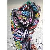 Moderne Abstrakte Graffiti Kunst Faust Leinwand Poster