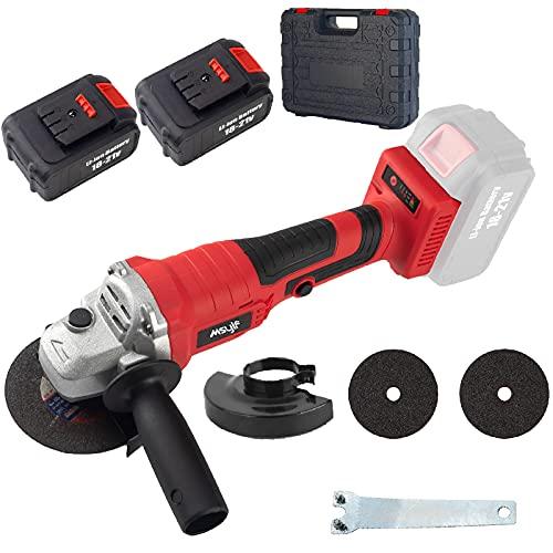 Kit de meuleuse d'angle sans fil et sans brosse Puissance 20V 4.0Ah 9800RPM 4.5' 2 Batteries Lithium Ion Coupe Meulage Polissage Poignée auxiliaire avec mallette à outils
