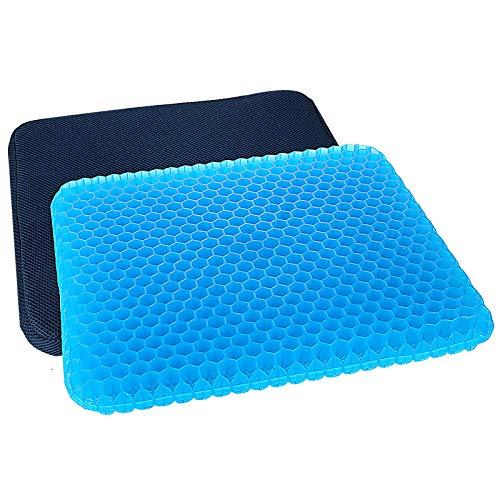 ZJF - Cojín de gel grande para asiento de coche, doble grueso, para dolor de espalda, transpirable, coxis, ciática, almohadillas para silla de casa, asiento de coche, oficina