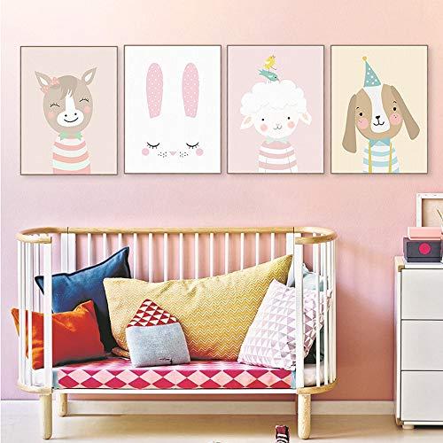 Juego de 4 pósteres para habitación de niños y bebés, DIN A4, decoración para niños y niñas, diseño de animales del bosque, escandinavos, 4 en 1