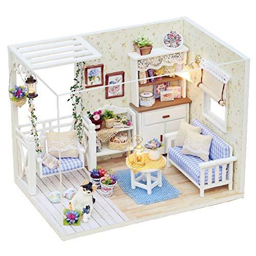 Casa de Juguete en Miniatura DIY Navidad Miniatura Kit de casa de muñecas Realista Mini 3D Casa de Madera artesanía con Muebles Día de los niños Juguete de construcción Modelo