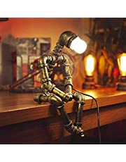 ADFD Vintage Industriële Tafellamp Steampunk Robot Bureaulamp Rustieke Water Buis Bureaulamp (zonder gloeilamp inbegrepen)