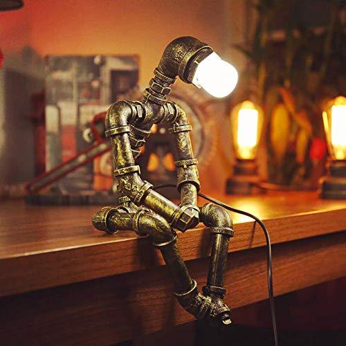 PIPRE Vintage Industrial Tischlampe Steampunk Roboter Schreibtischlampe Rustikale Wasserrohr Schreibtischlampe(Ohne Glühbirne)