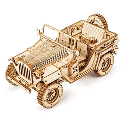 ROKR Car Madera Maquetas para Construir - Maquetas para Montar - Set de Construcción Puzzle 3D para niños y Adultos (Army Jeep)